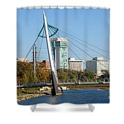 Pedestrian Bridge Over Arkansas River In Wichita Shower Curtain