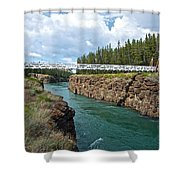 Pedestrian Bridge Over Yukon River In Miles Canyon Near Whitehorse-yk Shower Curtain