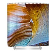 Peeking At Treasure In Lower Antelope Canyon In Lake Powell Navajo Tribal Park-arizona   Shower Curtain