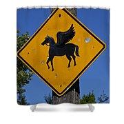 Pegasus Road Sign Shower Curtain