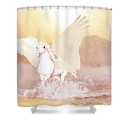 Pegasus   Shower Curtain by Valerie Anne Kelly