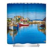 Peggy's Cove Boats Nova Scotia Shower Curtain