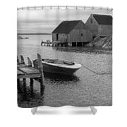 Peggys Cove In Black And White Shower Curtain