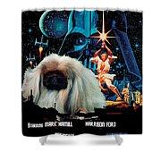 Pekingese Art - Star Wars Movie Poster Shower Curtain