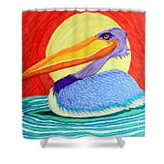 Pelican In The Sun  Shower Curtain