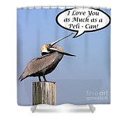 Pelican Love You Card Shower Curtain