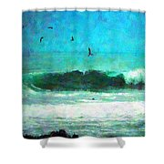 Pelicans Enjoying The Mighty Pacific Impressionism Shower Curtain