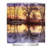 Pella Crossing Sunrise Reflections Hdr Shower Curtain