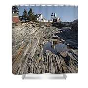 Pemaquid Point Light - Bristol Maine Shower Curtain