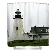 Pemaquid Point Light In The Rain - Maine Shower Curtain