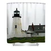 Pemaquid Point Light In The Rain - Maine Shower Curtain