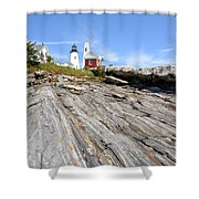 Pemaquid Point Lighthouse In Maine Shower Curtain