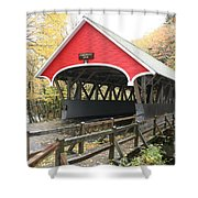 Pemigewasset River Covered Bridge In Fall Shower Curtain