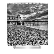Penarth Pier 2 Mono Shower Curtain
