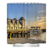 Penarth Pier Dawn Shower Curtain