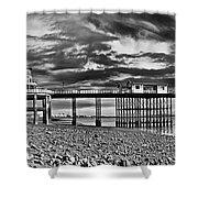 Penarth Pier Panorama Monochrome Shower Curtain