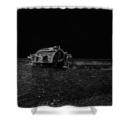 Pencil - A Houseboat Moving Placidly Through A Coastal Lagoon In Alleppey Shower Curtain