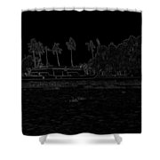 Pencil - A Houseboat On Its Quiet Sojourn Through The Backwaters Shower Curtain