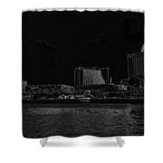 Pencil - Buildings Along The Waterfront In Singapore Shower Curtain