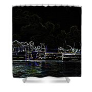 Pencil - Statue Of The Merlion And Viewing Platform Shower Curtain