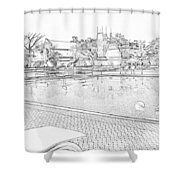 Pencil - Swimming Pool And A Leisure Chair Shower Curtain