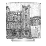 Pencil Drawing Of Old Jail Shower Curtain