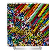 Pencils And Paperclips Shower Curtain