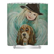 Penelope And Charlie Little Angel Of Faith And Loyalty Shower Curtain