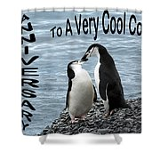 Penguin Anniversary Card Shower Curtain