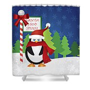 Penguin At Santa Stop Here Sign Shower Curtain