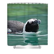 Penguin Gliding On Water's Surface Shower Curtain