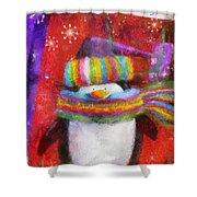 Penguin Happy Holidays Photo Art Shower Curtain