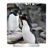 Penguin New Baby Card Shower Curtain