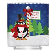Penguin Top Hat At Santa Stop Here Sign Shower Curtain