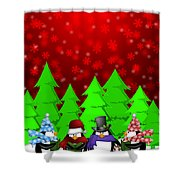 Penguins Carolers Singing With Red Winter Scene Illustration Shower Curtain