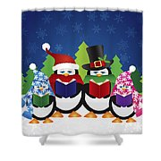 Penguins Carolers With Night Winter Scene Shower Curtain