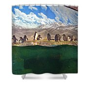 Penguins On Ice Shower Curtain