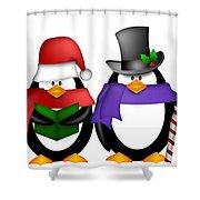 Penguins Singing Christmas Carol Cartoon Clipart Shower Curtain