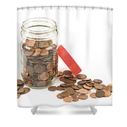 Pennies And Jar On White Background Shower Curtain