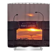 Penns Landing Arch At Sunrise Shower Curtain