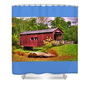 Pennsylvania Country Roads - Everhart Covered Bridge At Fort Hunter - Harrisburg Dauphin County Shower Curtain
