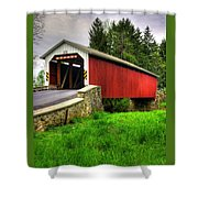 Pennsylvania Country Roads - Forry's Mill Covered Bridge - Lancaster County Spring No. 2 Shower Curtain