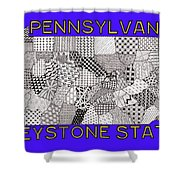 Pennsylvania Map Blue Shower Curtain