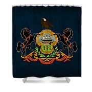 Pennsylvania State Flag Art On Worn Canvas Shower Curtain by Design Turnpike