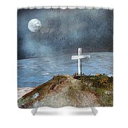 Pensacola Beach By The Light Of The Moon Shower Curtain