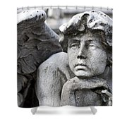 Pensive Angel Detail Monumental Cemetery Milan Italy Shower Curtain