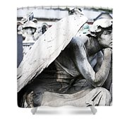 Pensive Angel Monumental Cemetery Milan Italy Shower Curtain