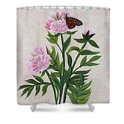 Peonies And Monarch Butterfly Shower Curtain