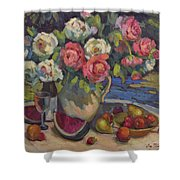 Peonies And Summer Fruit Shower Curtain