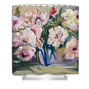 Peons In Blue Vase Shower Curtain